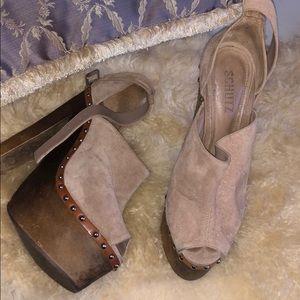Suede leather heels
